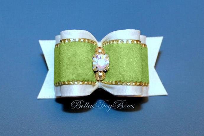 Exquisite Double Loop Show Bow with Large Swarovski Crystal.