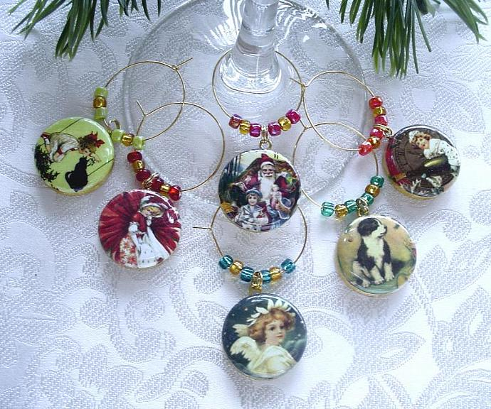 Holiday Themed Drink Glass or Wine Charms Set of 6