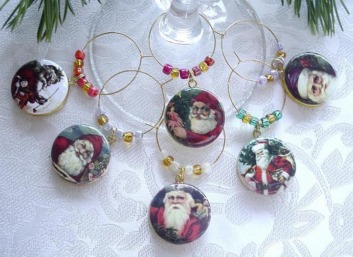 Vintage Santa Claus  Drink Glass or Wine Charms Set of 6