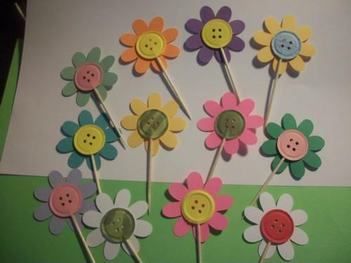 24ct Handmade Button Paper flowers cupcake toppers / food picks