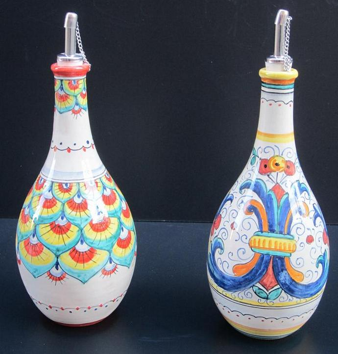 Deruta Classico Blue and Penna Red Olive Oil Bottle