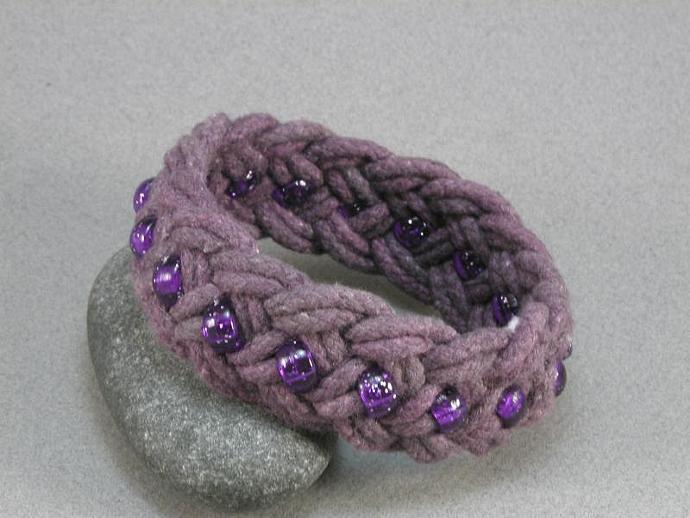 purple beaded turks head knot bracelet med 504