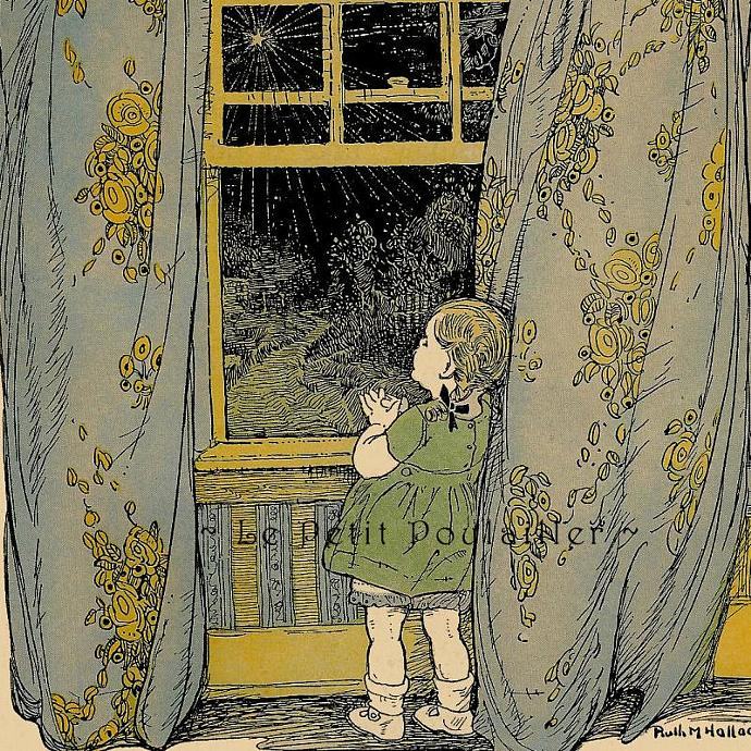 Wishing On A Star 1927 Antique Ruth M Hallock Storybook Lithograph, Pl 37