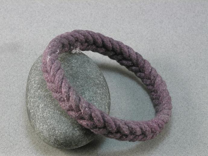 slender purple herringbone weave turks head knot rope bracelet soft bangle hand