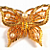 Vintage Brooch Gold Faux Pearl Butterfly