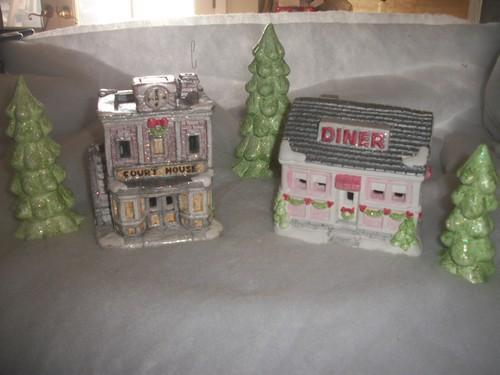 5pc Shabby Chic Christmas Village Houses set #2 / Court House/ Diner / 3 trees