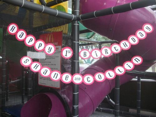 Red and Black Happy Birthday Banner with {1} Childs name