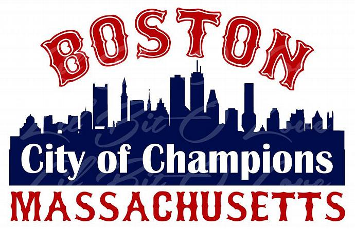 Boston Massachusetts Vinyl Decal CITY OF CHAMPIONS Red Sox, New England