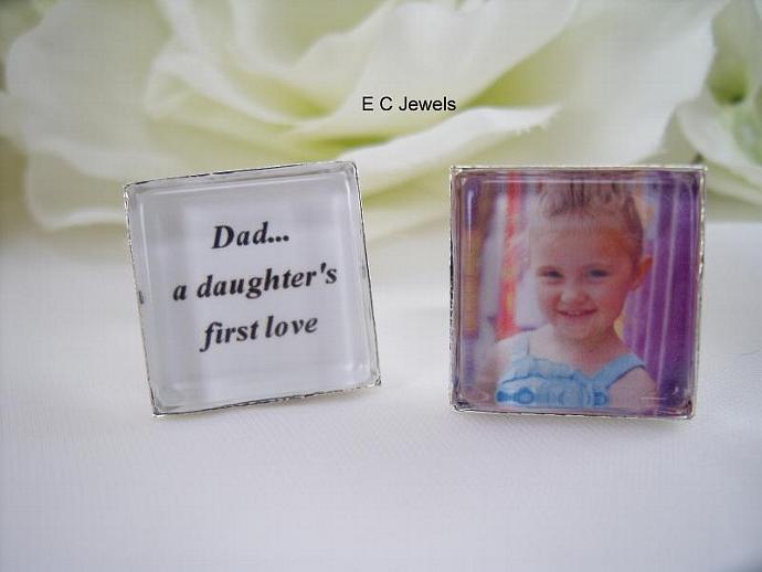 Dad.. a daughter's first love, Custom Photo - Cufflinks