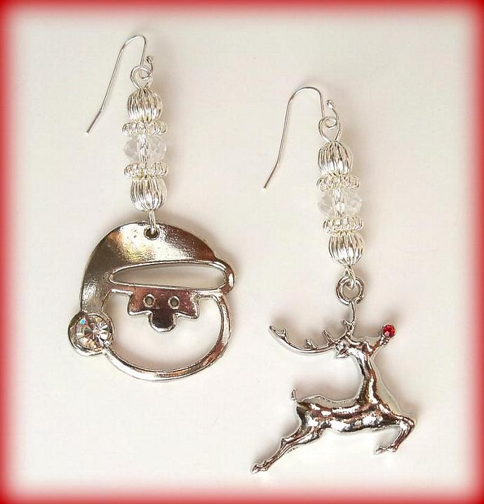 Earrings - Santa Baby and Reindeer with Swarovski Crystals