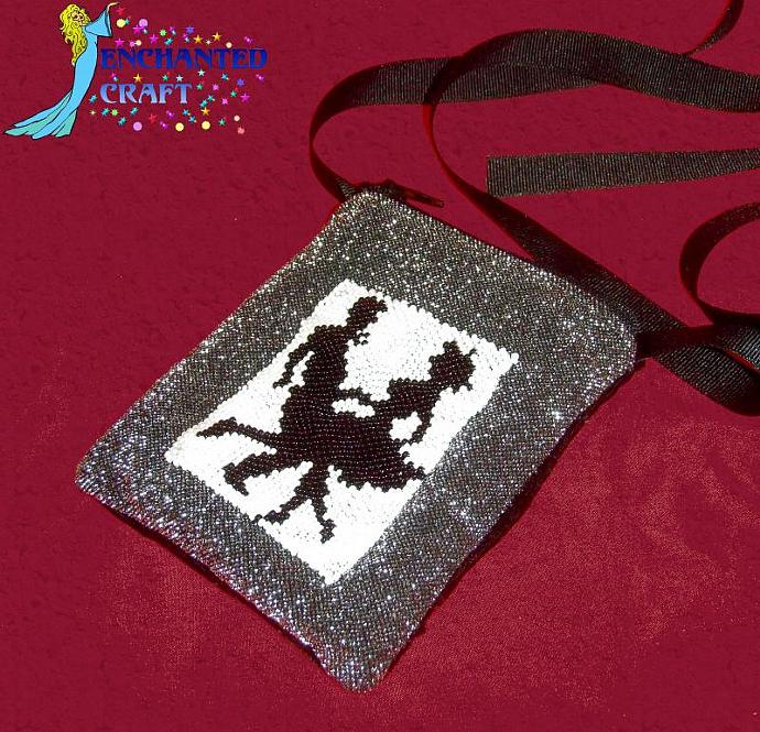 Square Dancer bag beaded with AB seed beads Silver, black, white