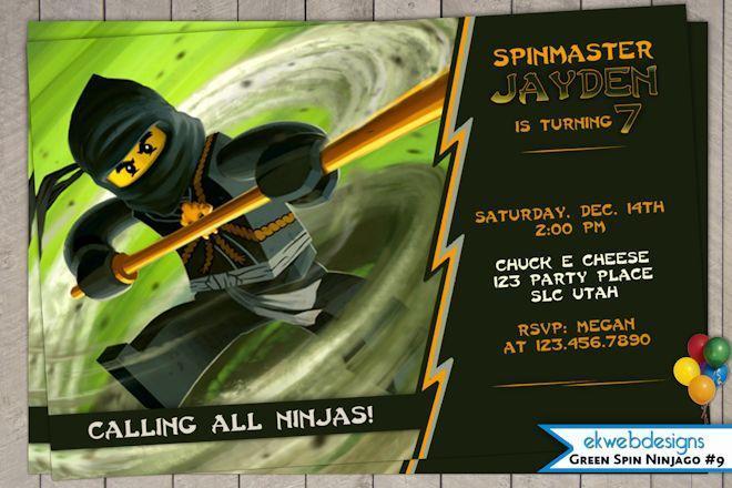 Ninjago Birthday Party Invitation Printable Ekwebdesigns