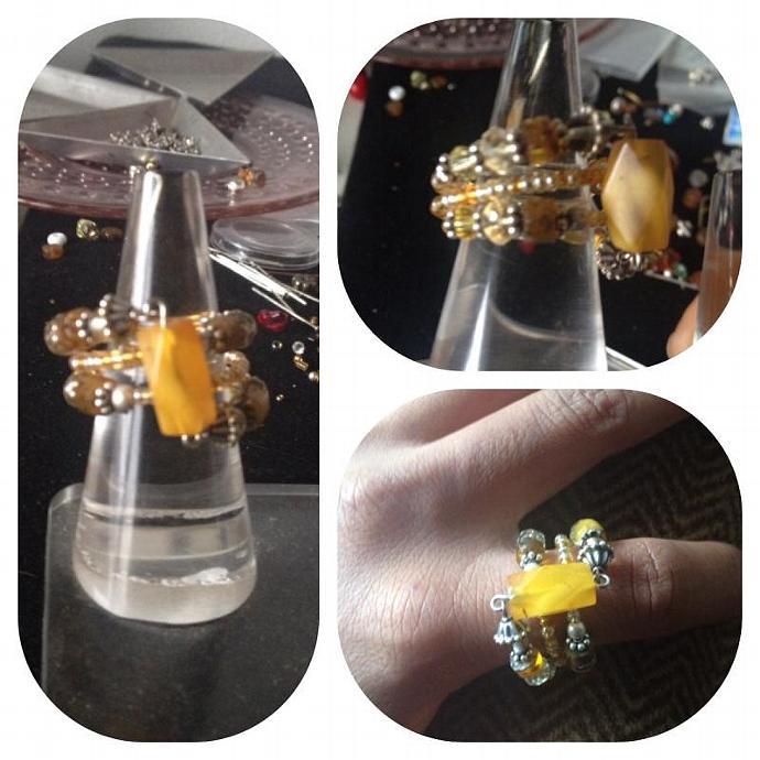 Amber & Citrine Ring