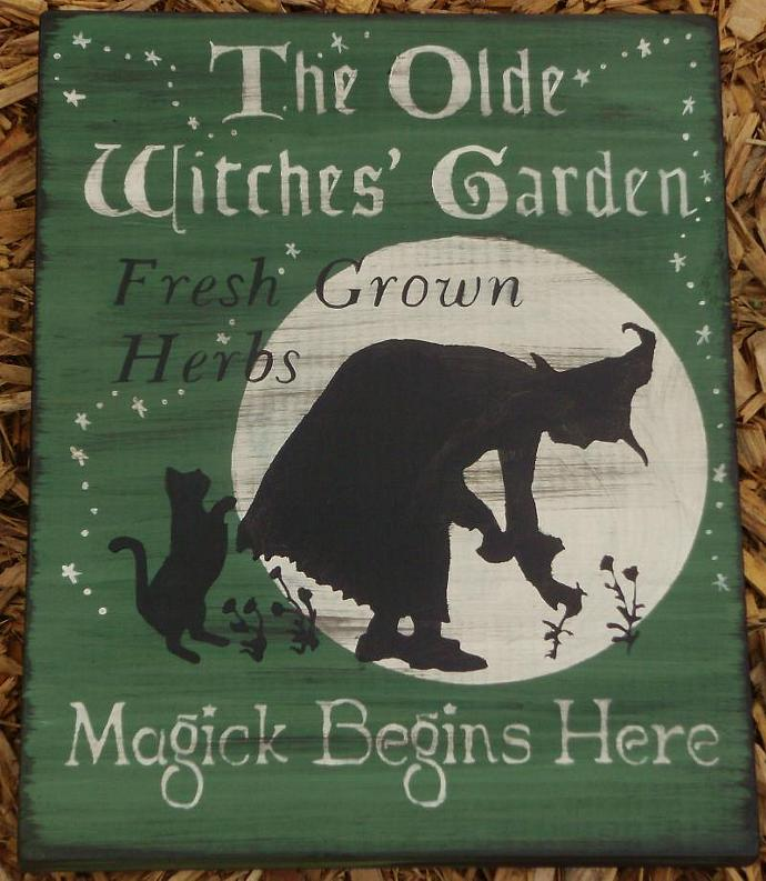 Witches Magic Garden Primitives witch Sign Herbs Witchcraft Fairies Cats Pixies