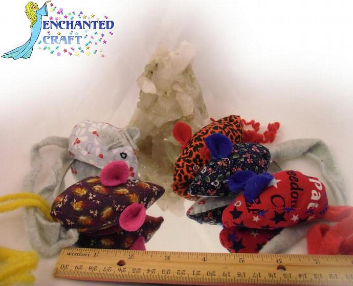 Miss Priss'es Fabulous Fabric CAT TOYS- filled with organic catnip- MOUSE SHAPED