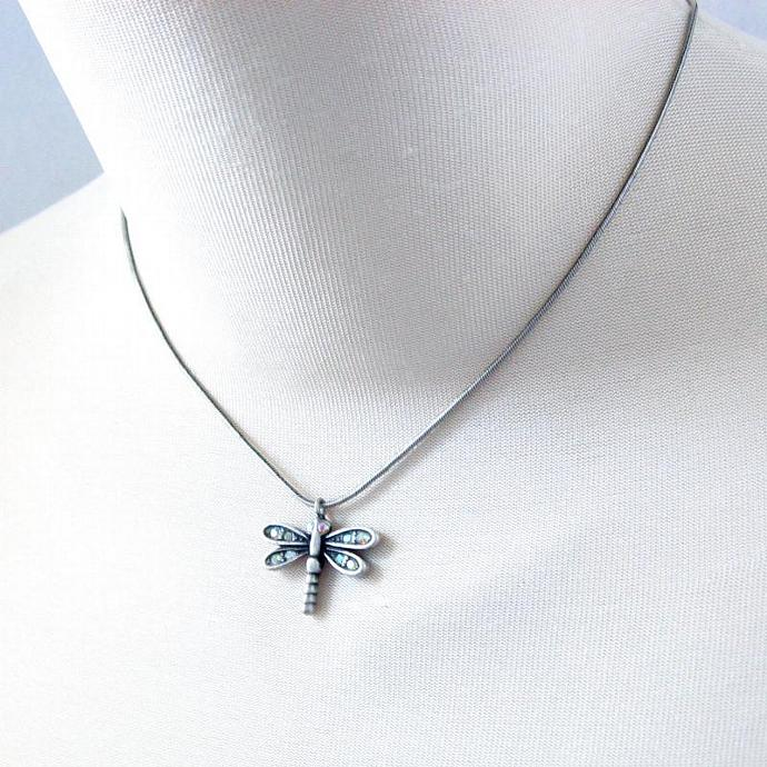 Chain Necklace Earring Set Matte Silver Pewter Tone Metal Dragonfly Pendant AB