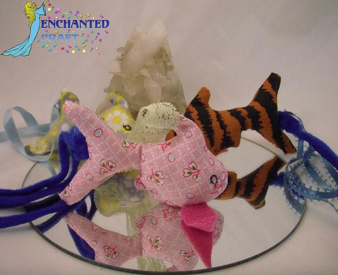 FISH SHAPED Miss Priss'es Fabulous Fabric CAT TOYS- filled with organic catnip