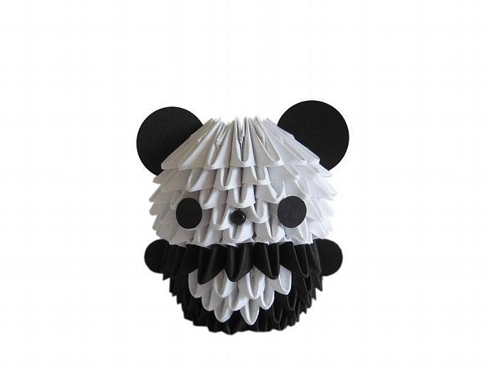 3d origami mini panda by espressions on zibbet. Black Bedroom Furniture Sets. Home Design Ideas