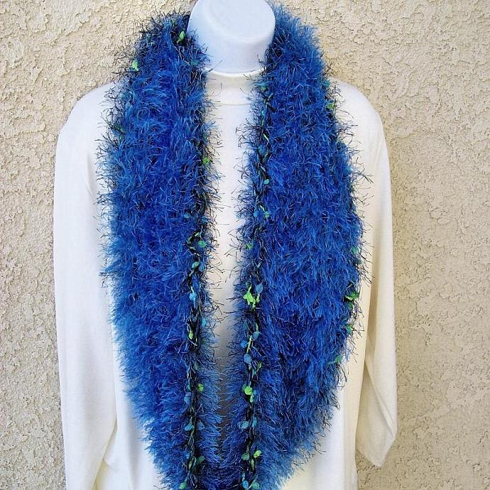Infinity Scarf, crocheted in Rich Blue Fuzzy Fur Yarn
