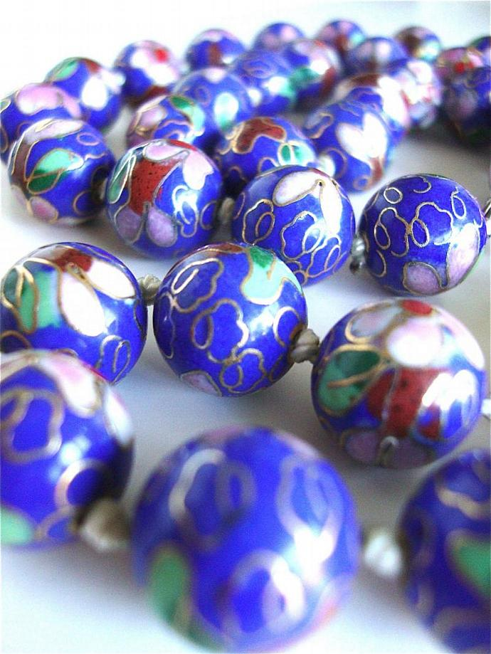 on sale cloisonné necklace with sterling silver clasp