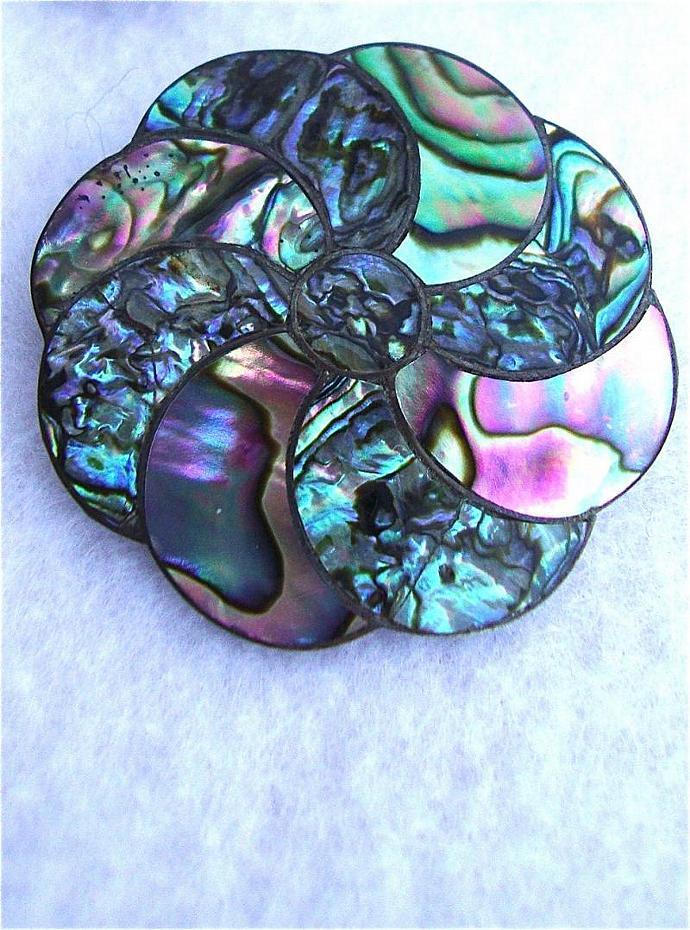 SALE sterling abalone brooch & earrings