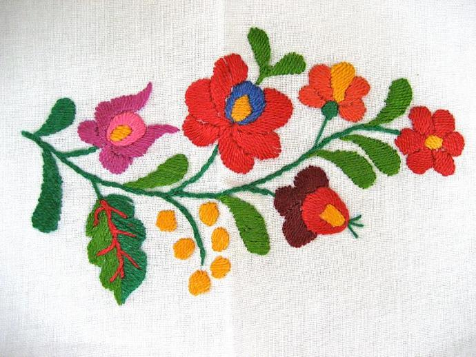Vintage hand embroidered Hungarian dining set