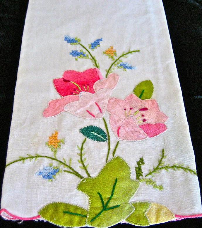 vintage linen towel with hand sewn floral design