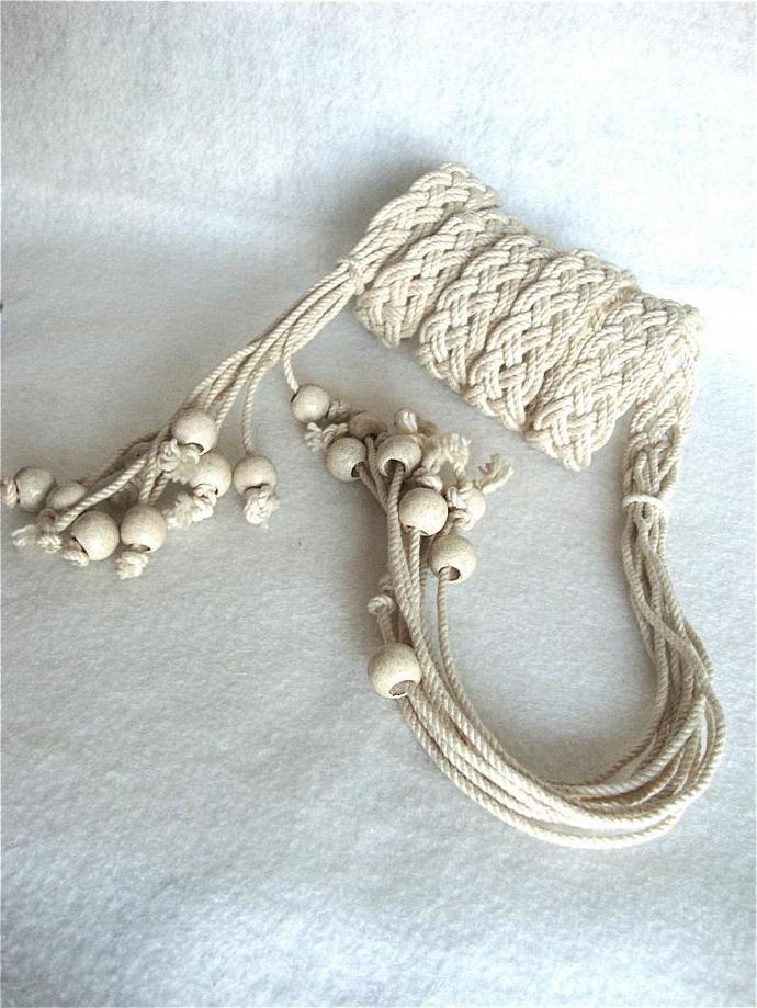 vintage handmade fancy rope belt with beads