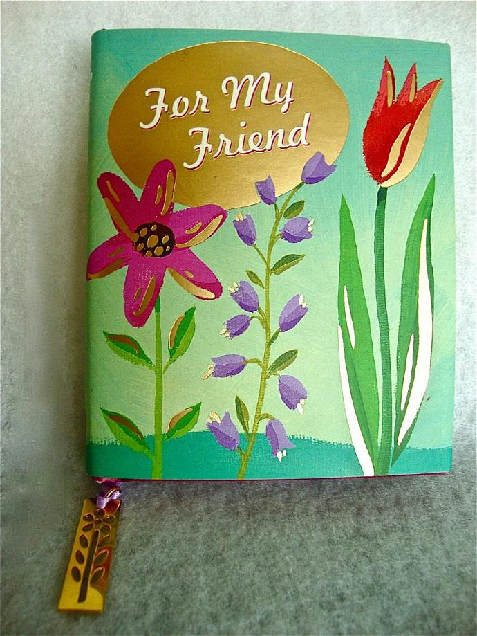 "vintage small hardbound book ""for my friend'' with a 24K charm"