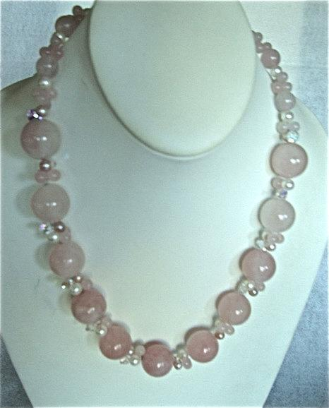 on sale, pink Jade necklace with sterling silver clasp