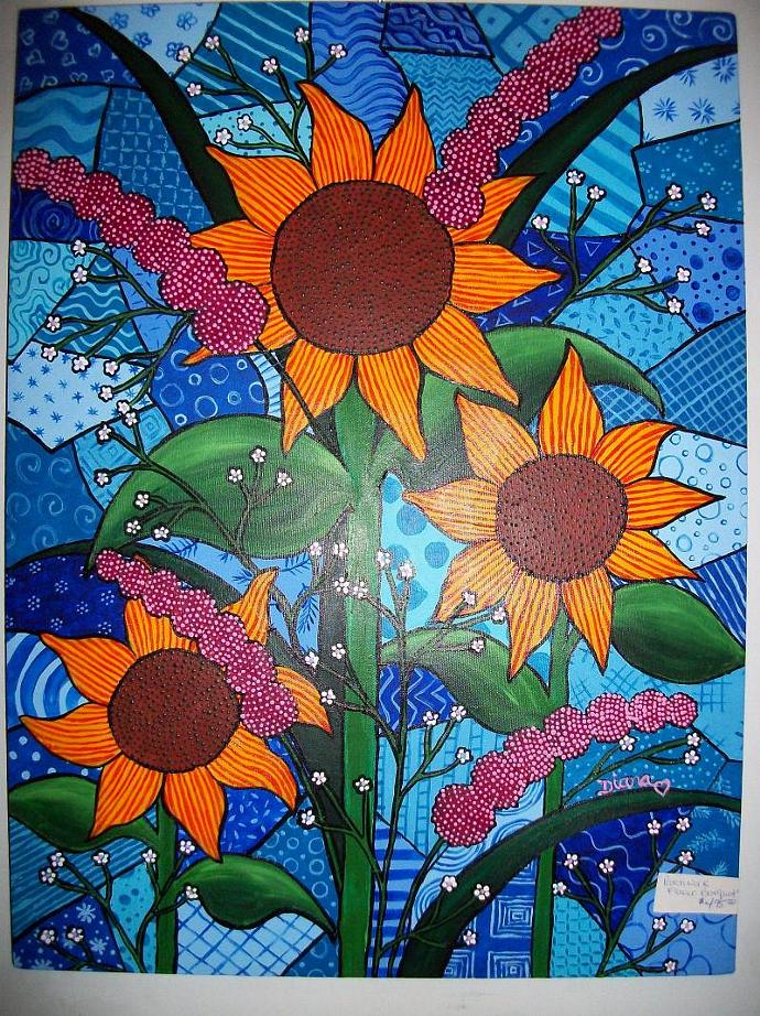Patchwork Flowers-original painting