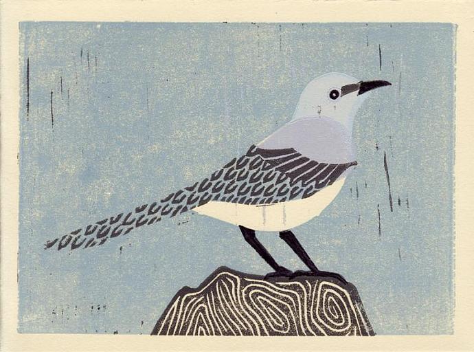 MOCKINGBIRD Original Linocut 5 x 7 Wood Block Illustration Art Print