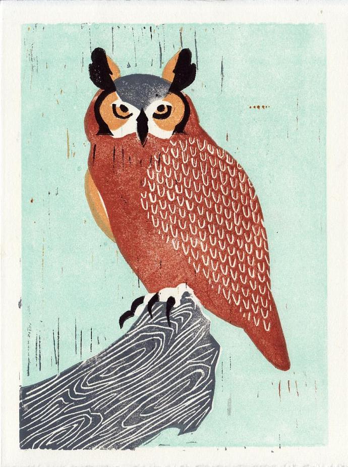 GREAT HORNED OWL Original Linocut 5 x 7 Wood Block Illustration Art Print