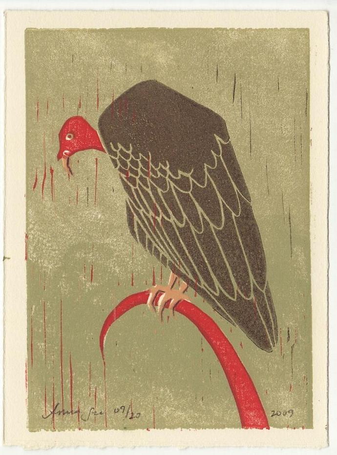 TURKEY VULTURE Original Linocut 5 x 7 Wood Block Illustration Art Print