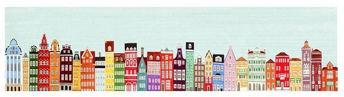 Combined Colorful European Buildings Skyline Mega Illustration Fine Art Poster