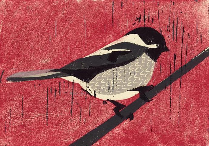 BLACK CAPPED CHICKADEE Original Linocut 5 x 7 Wood Block Illustration Art Print