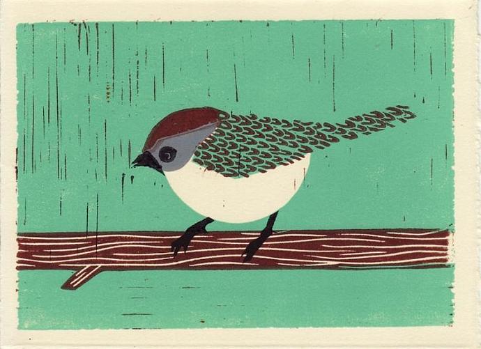 BUSHTIT Original Linocut 5 x 7 Wood Block Illustration Art Print