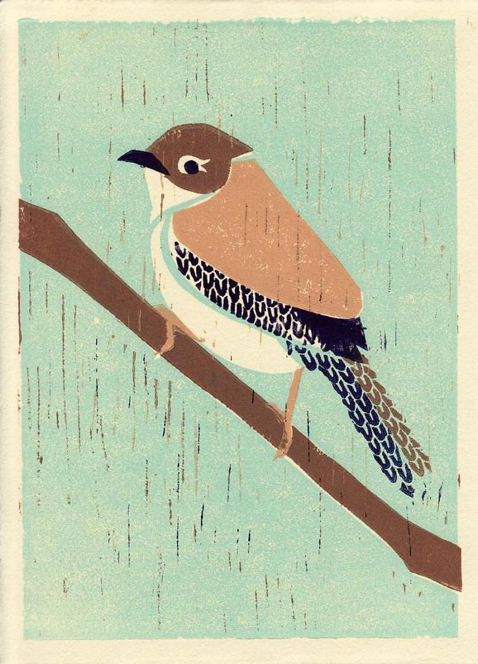 HOUSE WREN Original Linocut 5 x 7 Wood Block Illustration Art Print