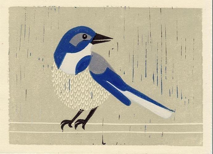 WESTERN SCRUBJAY Original Linocut 5 x 7 Wood Block Illustration Art Print