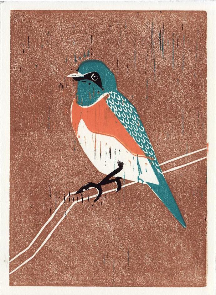 WESTERN BLUEBIRD Original Linocut 5 x 7 Wood Block Illustration Art Print