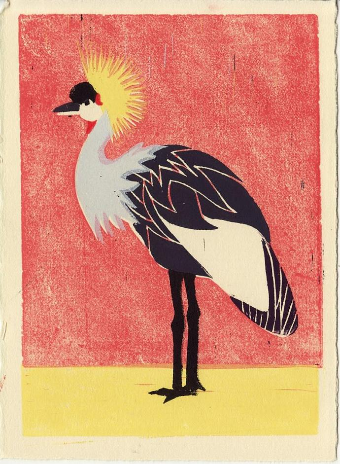 AFRICAN CROWNED CRANE Original Linocut 5 x 7 Wood Block Illustration Art Print