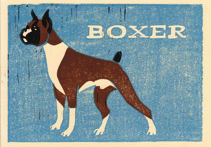 BOXER Original Linocut 5 x 7 Wood Block Illustration Art Print