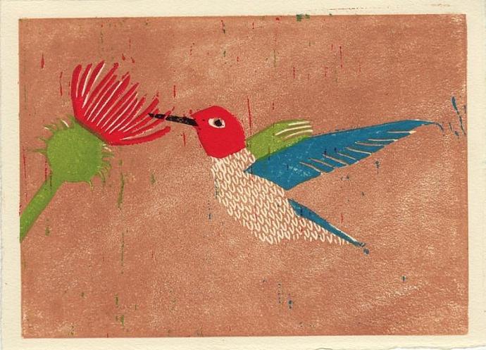 ANNA'S HUMMINGBIRD Original Linocut 5 x 7 Wood Block Illustration Art Print