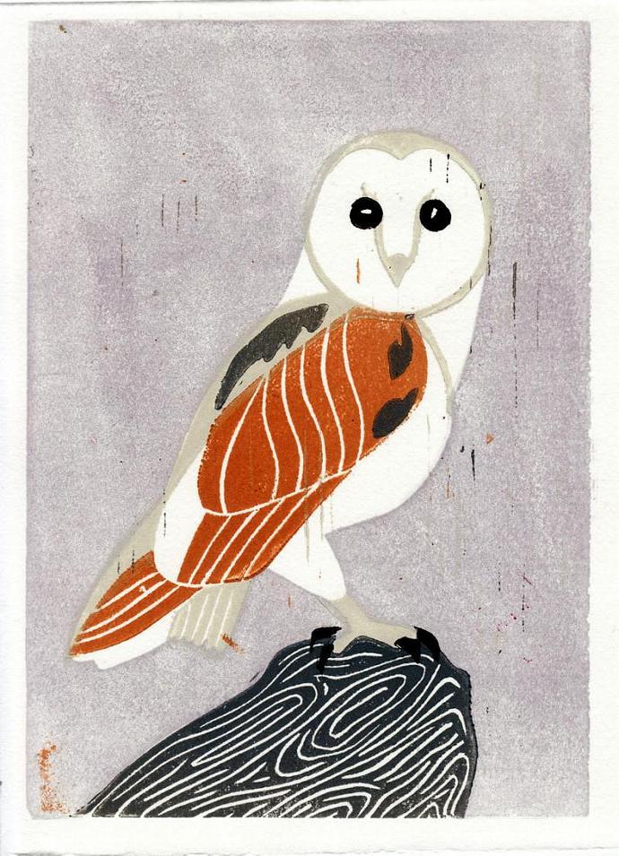 BARN OWL Original Linocut 5 x 7 Wood Block Illustration Art Print