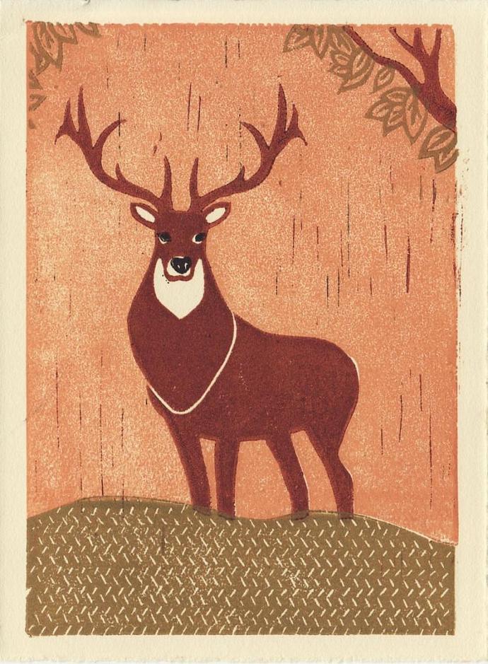 ELK Original Linocut 5 x 7 Wood Block Illustration Art Print