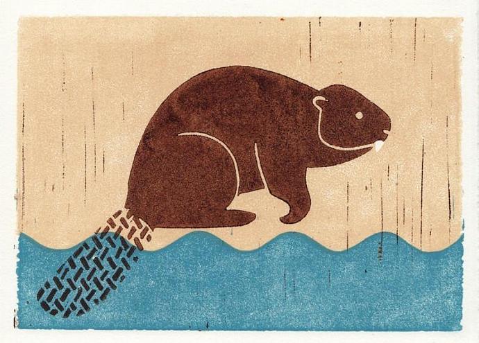 BEAVER Original Linocut 5 x 7 Wood Block Illustration Art Print