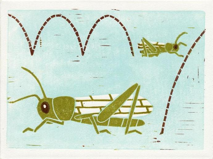 GRASSHOPPERS Original Linocut 5 x 7 Wood Block Illustration Art Print