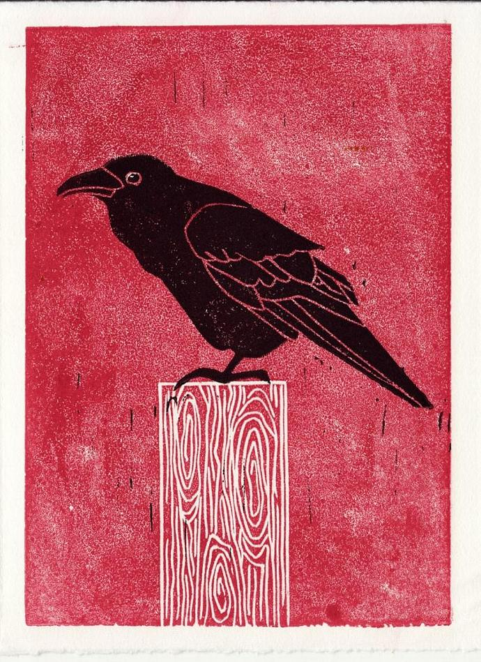 COMMON RAVEN Original Linocut 5 x 7 Wood Block Illustration Art Print