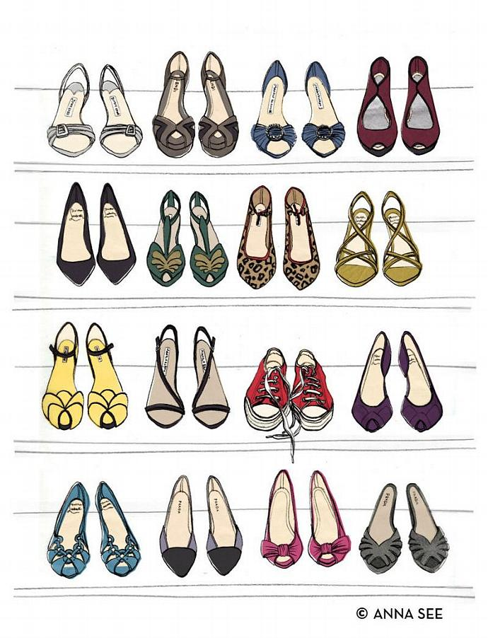 Designer Dream Shoe Closet Oversized Archival Fashion Illustration Print
