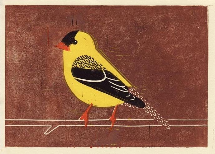 AMERICAN GOLDFINCH Original Linocut 5 x 7 Wood Block Illustration Art Print